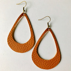 Cognac Faux Pebble Leather Cutout Earrings