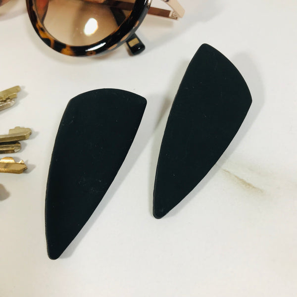 Clay Collection - Nina Earrings in Matte Black