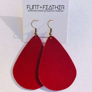 Leather Collection - Cranberry Teardrop Earrings