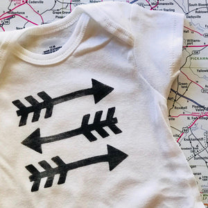 Choose Your Path - Handstamped Triple Arrow Onesie