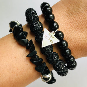 Black Stretch Bracelet Short Stack Set