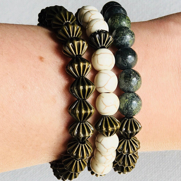 Seas the Day - Stackable Stretch Bracelets in Natural Tones Set of 3)