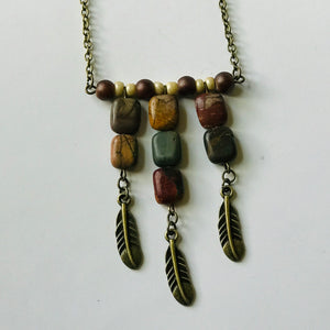Seasons - Stone & Brass Pendant Necklace (Nickel Free)
