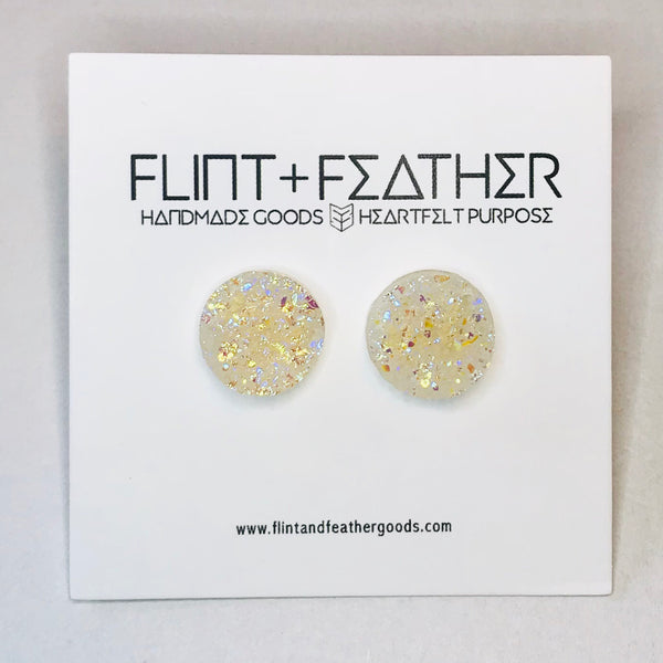 Druzy Collection - Unicorn Shimmer Stud Earrings