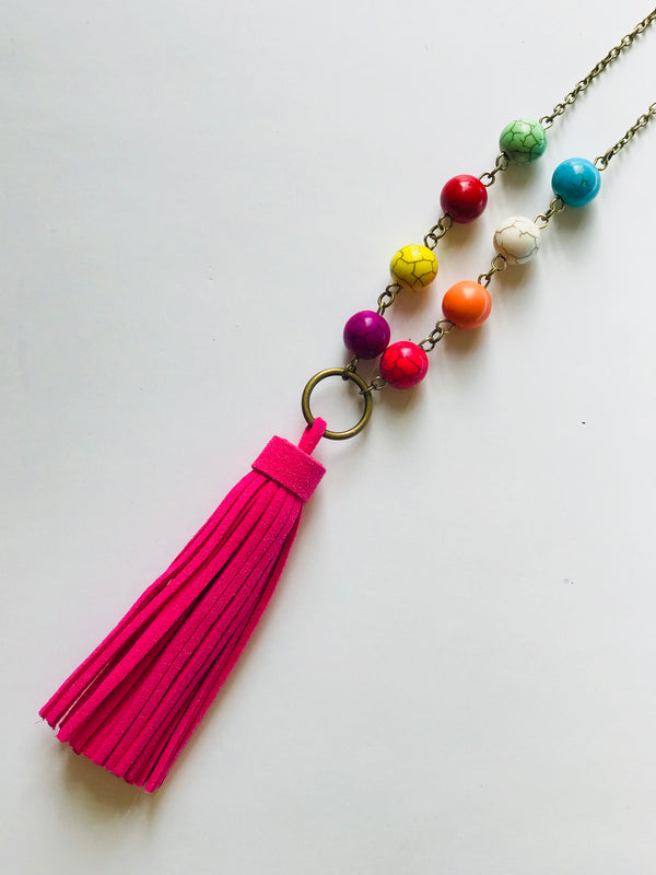 Colorful Crash - Children's Multi-Color Bead Tassel Necklace (Nickel Free)