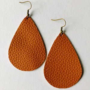 Cognac Faux Leather Teardrop Earrings (Nickel Free)