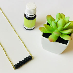 The Clarity - Oil Diffusing Black Beaded Bar Necklace (Nickel Free)