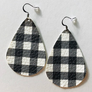 White Buffalo Check Faux Leather Teardrop Earrings