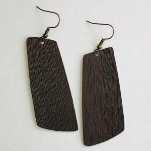 Brown Faux Woodgrain Leather Spar Earrings