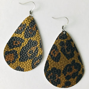 Gold Leopard Faux Leather Teardrop Earrings (Nickel Free)