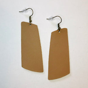Tan Leather Spar Earrings