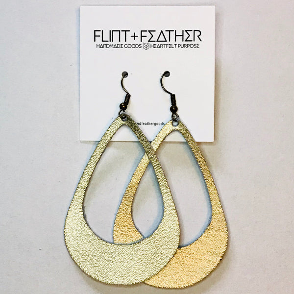 Leather Collection - Metallic Gold Cutout Earrings