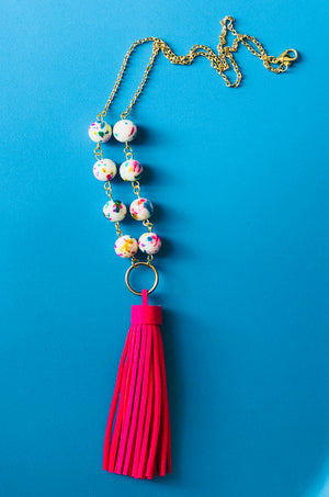 Confetti - Children's Multi-Color Bead Tassel Necklace (Nickel Free)