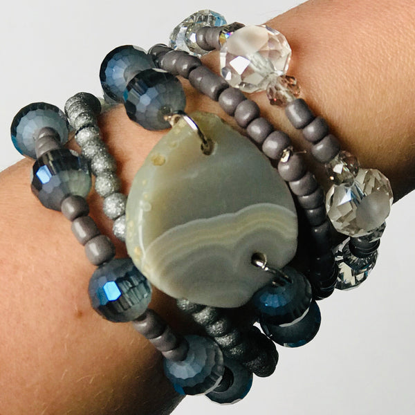 Gray Haven - Purple and Gray Toned Stackable Bead Bracelet Set of 5