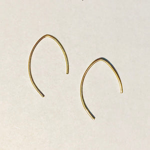 10K Gold Plated Abstract Marquis Feather Wire Earrings