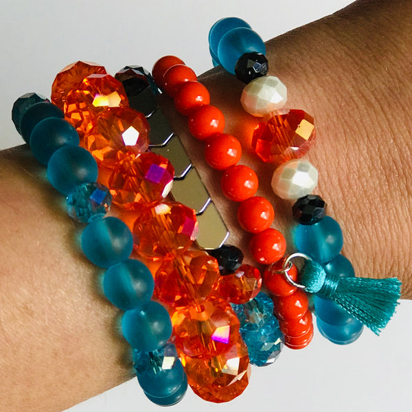 The OKC- OKC Thunder Inspired Mixed Bead Stretch Bracelet Stack (Set of 5)