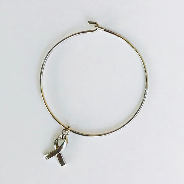 Silver Support Ribbon Bangle