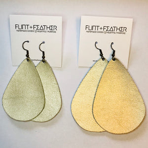 Leather Collection - Metallic Gold Teardrop Earrings