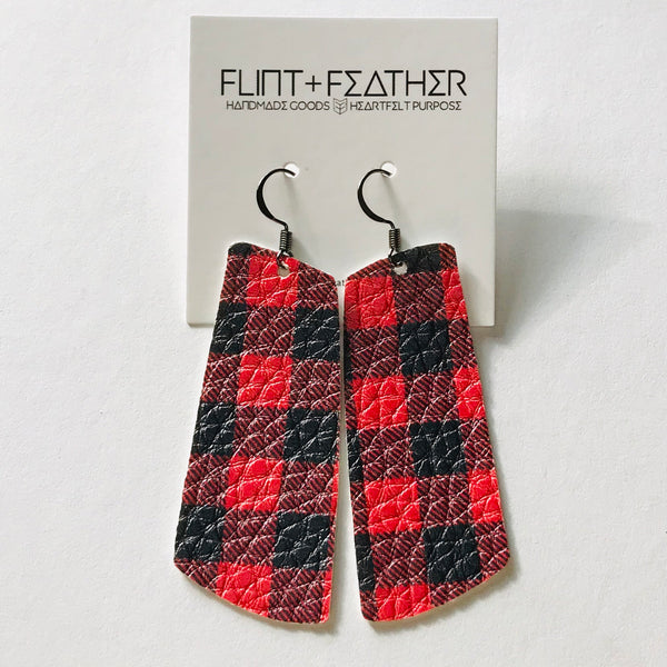Red Buffalo Check Faux Leather Spar Earrings