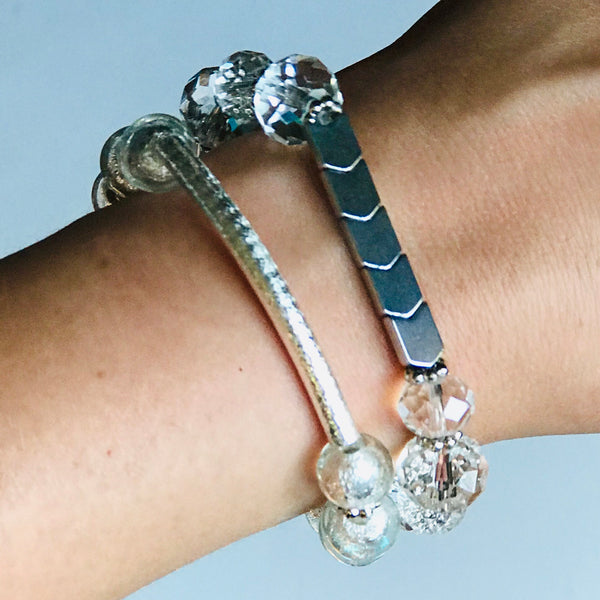 Silver Fox - Silver & Clear Stackable Stretch Bracelets