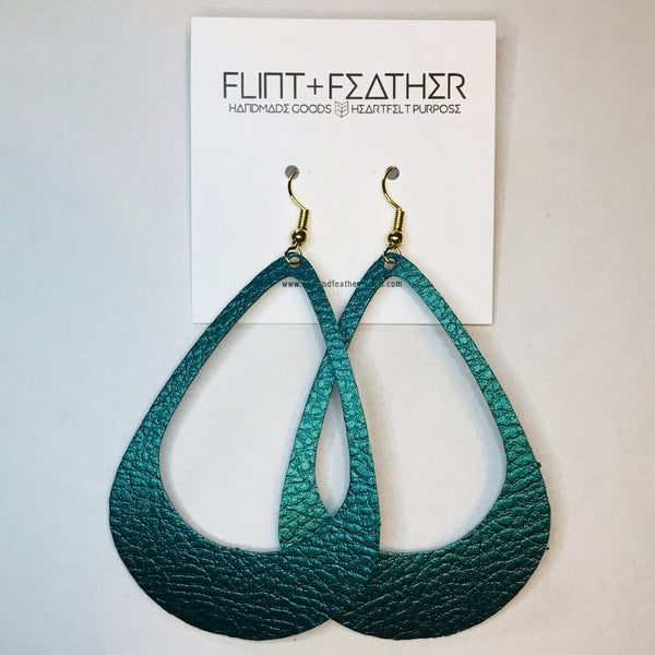 Peacock Green Faux Leather Teardrop Cutout Earrings