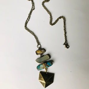 The Helen - Stacked Antique Brass & Stone Pendant Necklace