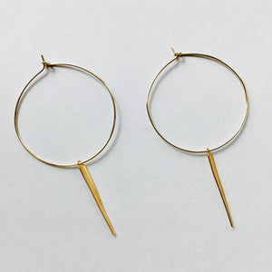 Gold Hoop & Dagger Wire Earrings