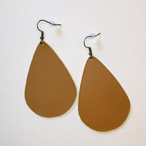 Leather Collection - Tan Teardrop Earrings
