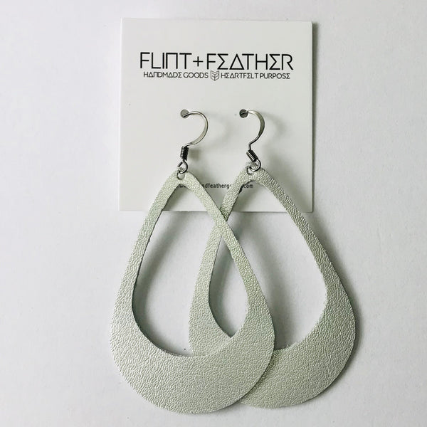 Leather Collection - Metallic Silver Cutout Earrings