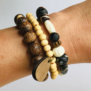 Stacks Collection - Wood Bead Bracelet Set