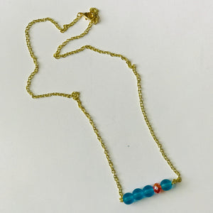 Make It Rain - OKC Thunder Inspired Bead Bar Necklace (Nickel Free)