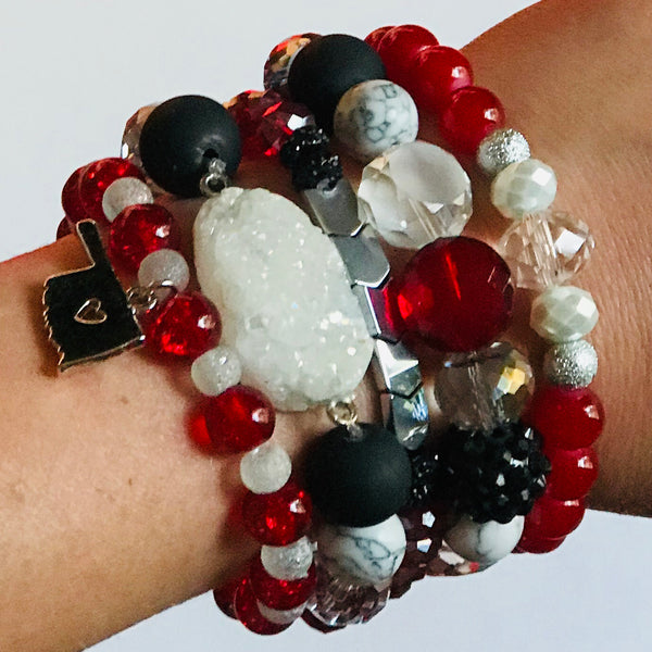 The Schooner - OU Inspired Mixed Bead & Stone Stretch Bracelet Stack (Set of 5)
