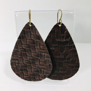 Faux Leather Collection - Basket Weave Teardrop Earrings