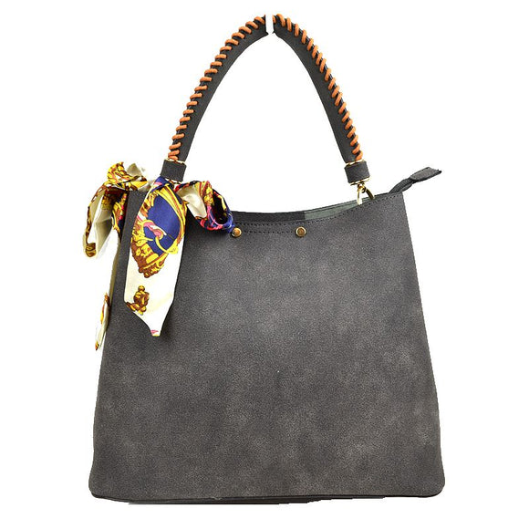 Suede handbag with scarf tie - dark grey