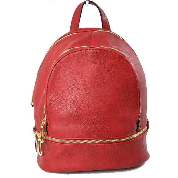 Front zip leather backapack - red