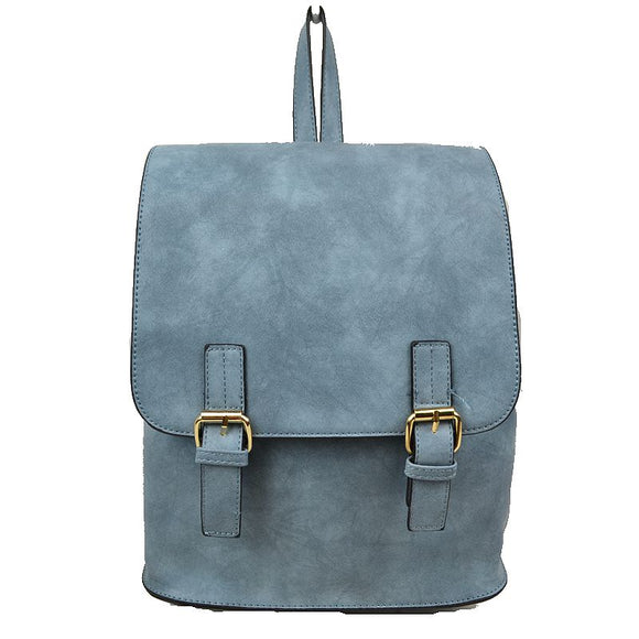 Double belted classic backpack - blue
