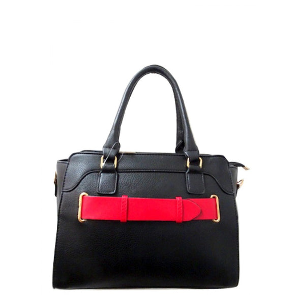 Belted fashion tote - black