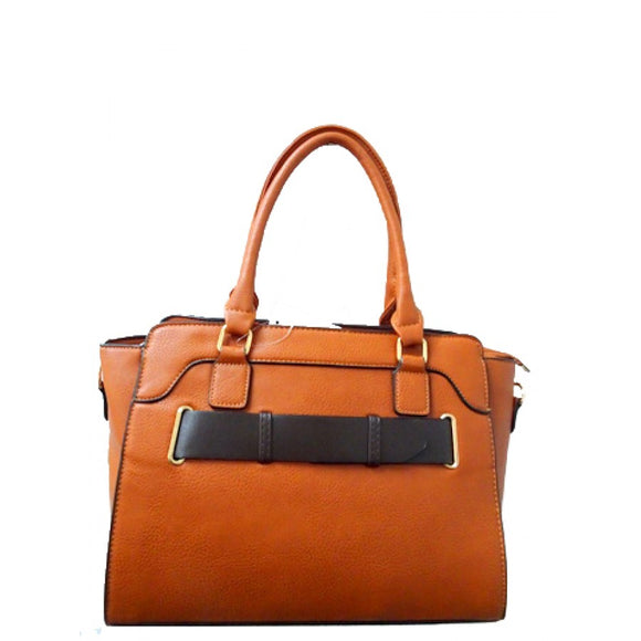 Belted fashion tote - tan