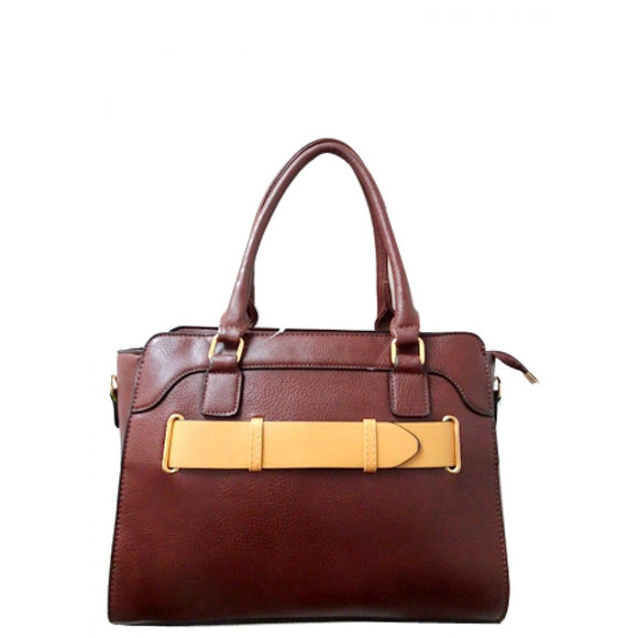 Belted fashion tote - brown