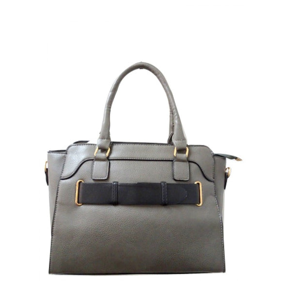 Belted fashion tote - gray
