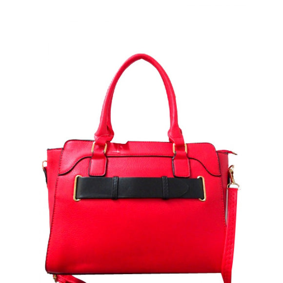 Belted fashion tote - red