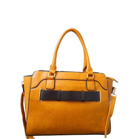 Belted fashion tote - yellow