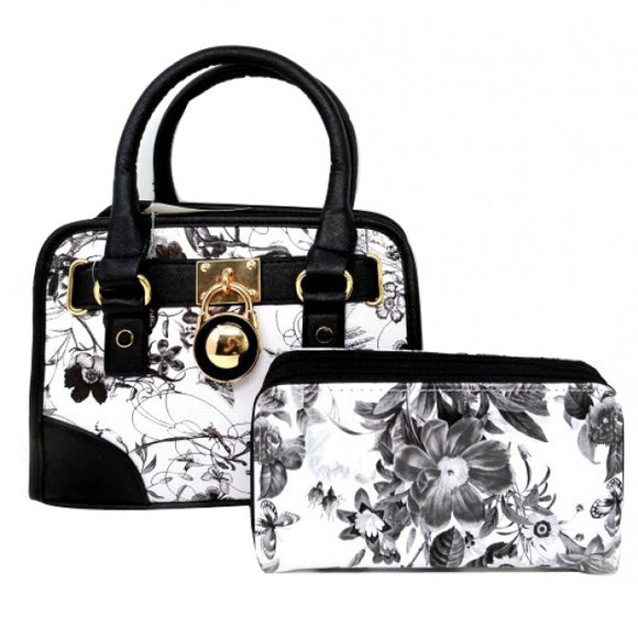 Floral small satchel - black/grey