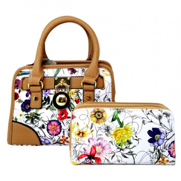 Floral small satchel - apricot