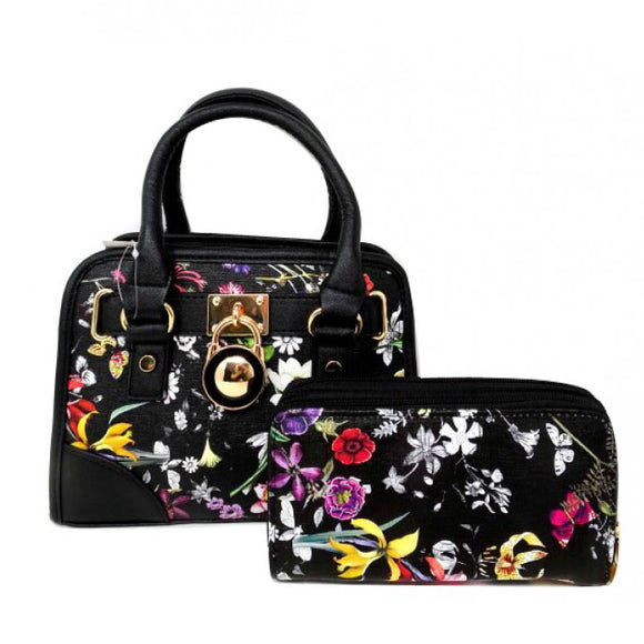 Floral small satchel - black