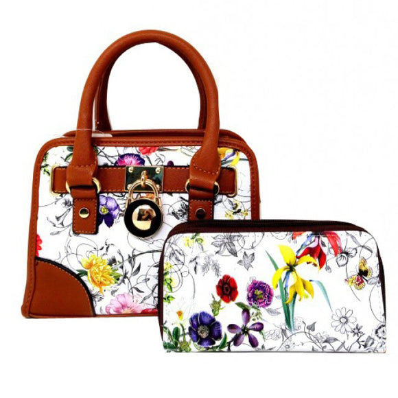 Floral small satchel - brown