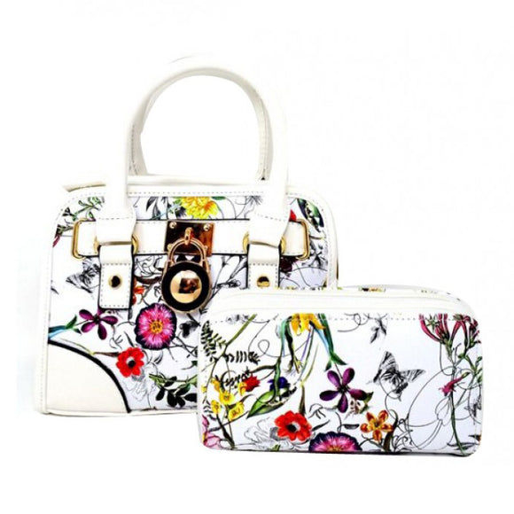 Floral small satchel - white