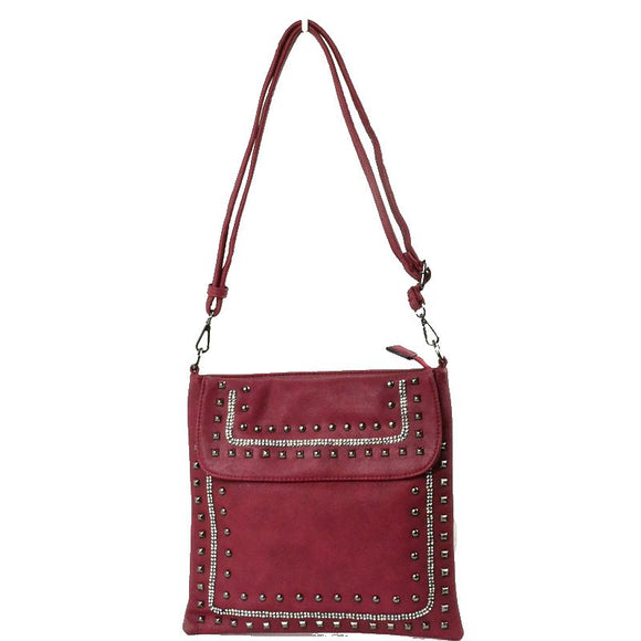 Studed crossbody bag - red