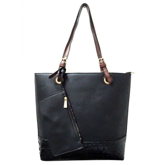Crocodile detail tote - black