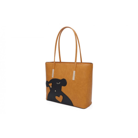 Bear double tote with clutch - mustard